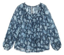 Gathered Printed Silk-georgette Blouse Navy Size 1
