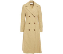 Woman Double-breasted Linen And Cotton-blend Canvas Coat Sage Green