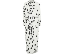 Wrap-effect Polka-dot Jersey Midi Dress White