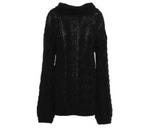 Cable-knit Wool-blend Sweater Black