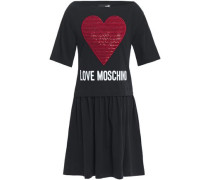 Woman Sequin-embellished Embroidered Logo-print Cotton-jersey Mini Dress Black