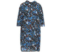 Woman Printed Silk-crepe Mini Dress Blue