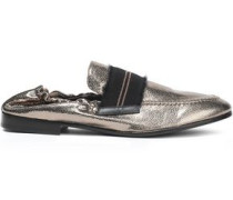 Bead-embellished Metallic Textured-leather Loafers Brass