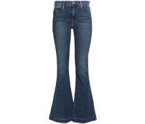 Faded mid-rise flared jeans