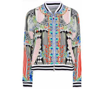 Close To My Heart Embellished Printed Silk Crepe De Chine Bomber Jacket Multicolor