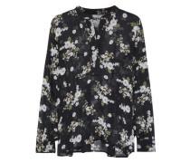 Floral-print Silk-chiffon Blouse Black