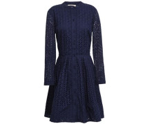 Pleated Broderie Anglaise Cotton Mini Shirt Dress Navy