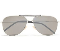 Woman Aviator-style Acetate And Silver-tone Sunglasses Silver