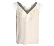 Bead and feather-embellished silk-satin crepe top