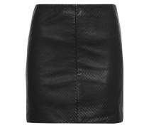 Textured-leather mini skirt