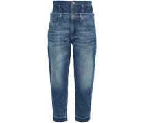 Frayed Layered High-rise Boyfriend Jeans Mid Denim