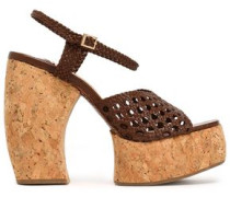Braided leather platform sandals