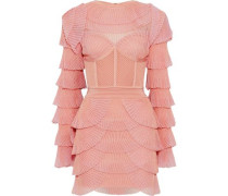 Ribbed Knit-paneled Tiered Plissé-mesh Mini Dress Baby Pink