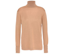Woman Cashmere And Silk-blend Turtleneck Sweater Sand