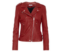 Han Textured-leather Biker Jacket Red