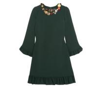 Woman Embellished Ruffled Crepe Mini Dress Forest Green