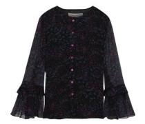 Fluted Printed Silk-georgette Blouse Black