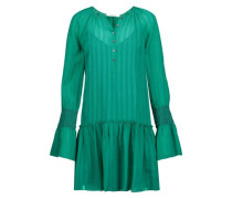 Smocked crinkled silk-chiffon mini dress