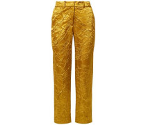Woman Willa Crinkled Satin-twill Straight-leg Pants Mustard