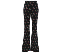 Floral-print cotton-blend corduroy bootcut pants