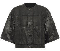Coated Shell-paneled Denim Jacket Black