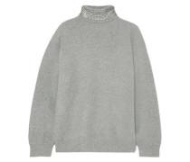 Crystal-embellished Wool-blend Turtleneck Sweater Gray