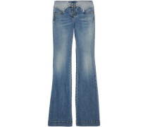 Lace-up faded mid-rise flared jeans