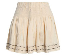Embellished embroidered cotton-blend gauze mini skirt