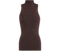 Ribbed-knit Turtleneck Sweater Brown Size 0