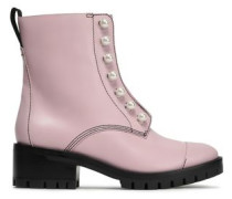 Hayett Faux Pearl-embellished Leather Ankle Boots Baby Pink