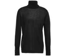 Woman Cashmere And Silk-blend Turtleneck Sweater Black