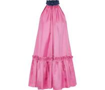 Elva Ruffle-trimmed Silk-twill Mini Dress Pink