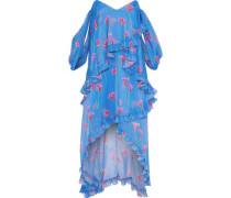 Melina Off-the-shoulder Draped Floral-print Silk-chiffon Dress Azure