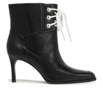 Agatha Lace-up Leather Ankle Boots Black