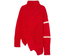 Open And Cable-knit Turtleneck Sweater Red