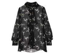Pussy-bow printed silk-crepon blouse