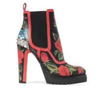 Embellished floral-print ankle leather boots