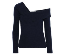 One-shoulder Layered Wool And Cashmere-blend Sweater Navy