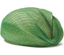 Woman Layered Metallic Open-knit And Straw Turban Green