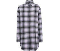Embroidered Printed Checked Cotton-flannel Shirt Lilac