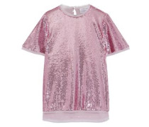 Thomson Frayed Georgette-trimmed Sequined Tulle T-shirt Lilac
