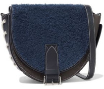 Bike Lace-up Shearling-paneled Smooth And Textured-leather Shoulder Bag Navy Size --