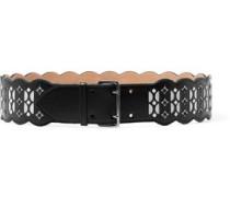 Laser-cut Leather Belt Black  0