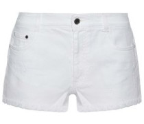 Frayed embroidered denim shorts