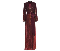 Sequined Satin-trimmed Silk-georgette Gown Merlot