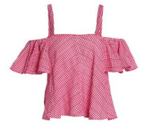 Riley cold-shoulder embroidered gingham cotton top