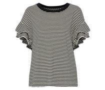 The Carina Ruffle-trimmed Striped Jersey Top Black Size 1
