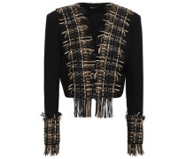 Leather-trimmed Embellished Wool And Silk-blend Jacket Black