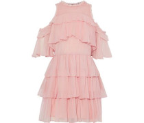Ruffled silk-georgette mini dress