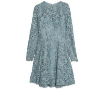Pleated silk-blend guipure lace dress
